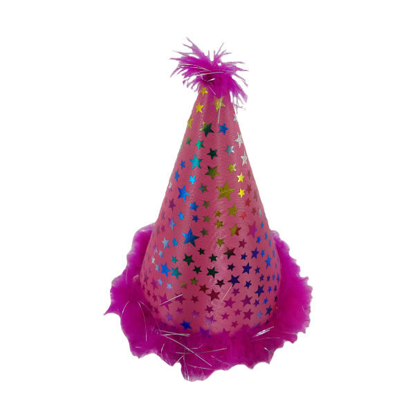 Pink clown party hat with multicoulour stars and feather imbelishment