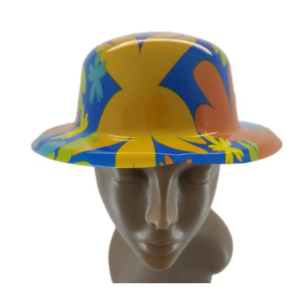 Plastic floral design small bowler hat 1