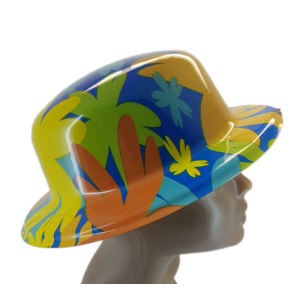 Plastic floral design small bowler hat 22