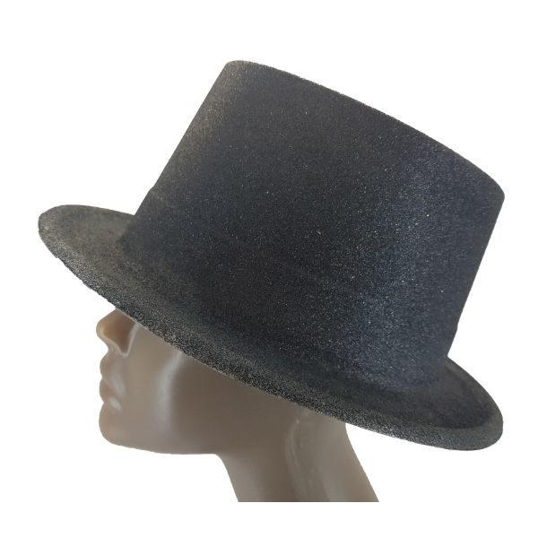 Plastic glitter Black Big Top hat 2 (1)