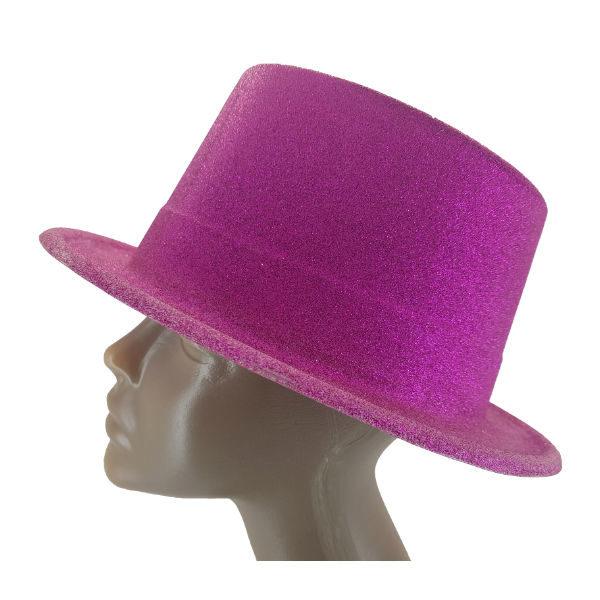 Plastic glitter Dark Pink Big Top hat 2