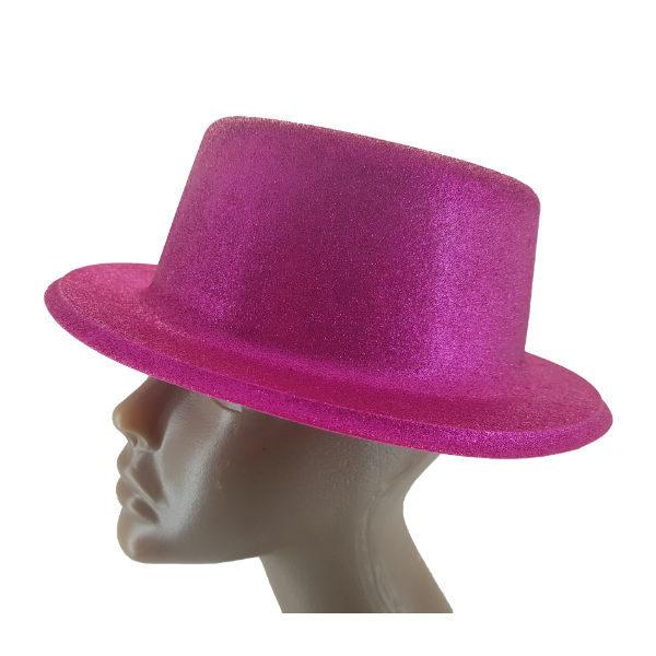 Plastic glitter Dark Pink small Top hat 2 (1)