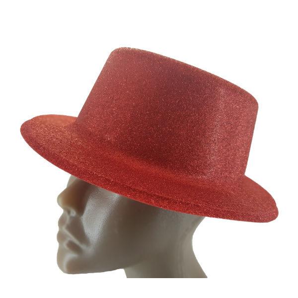 Plastic glitter Red small Top hat 2 (1)
