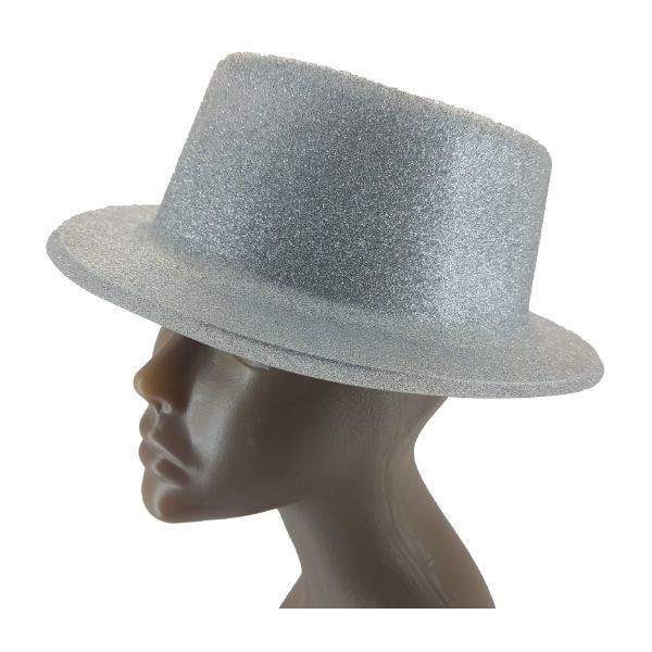 Plastic glitter Silver small Top hat2 (1)