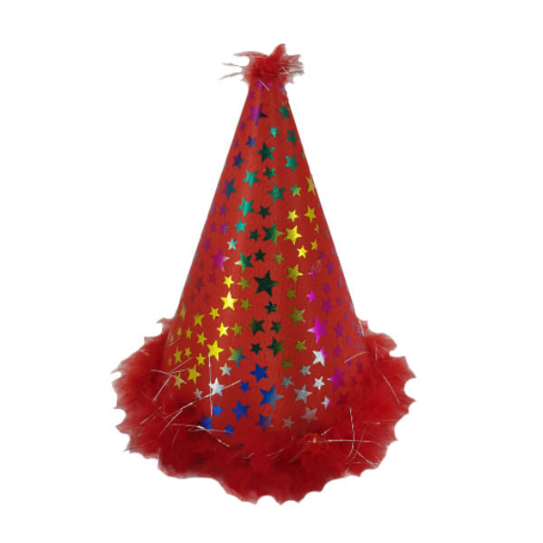 Red clown party hat with multicoulour stars and feather imbelishment