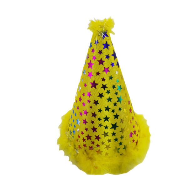 Yellow clown party hat with multicoulour stars and feather imbelishment