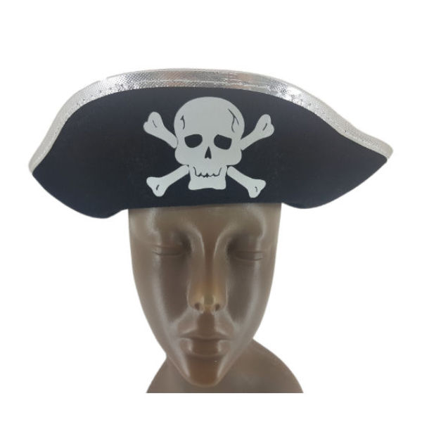 Felt Black Pirate hat with Silver trimming and pirate sign1