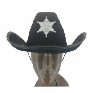 Felt Black Sheriff Hat with Badge1