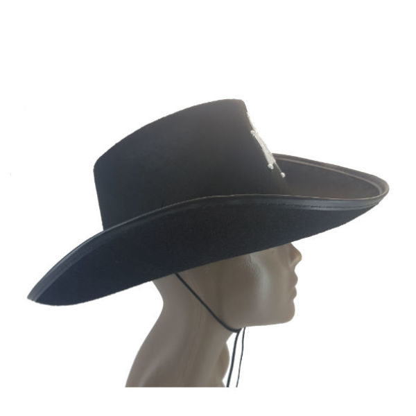 Felt Black Sheriff Hat with Badge