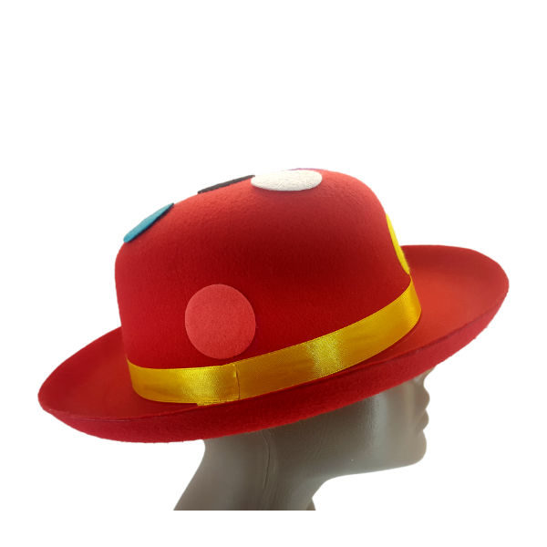Felt Red Bowler Hat with multi colour polka dots2