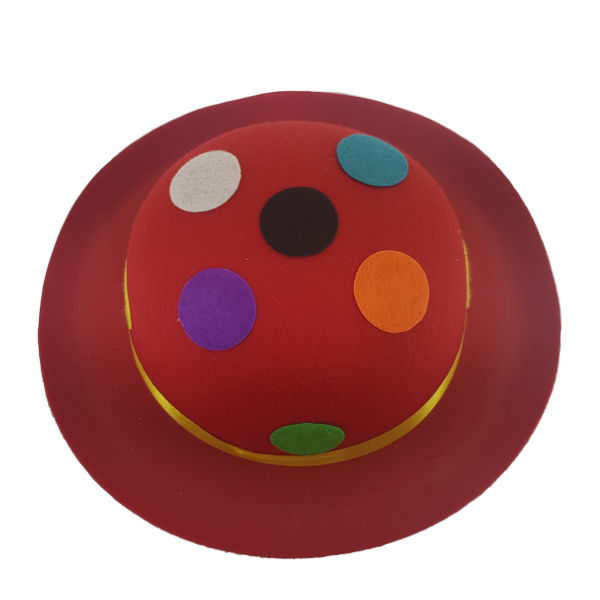 Felt Red Bowler Hat with multi colour polka dots3