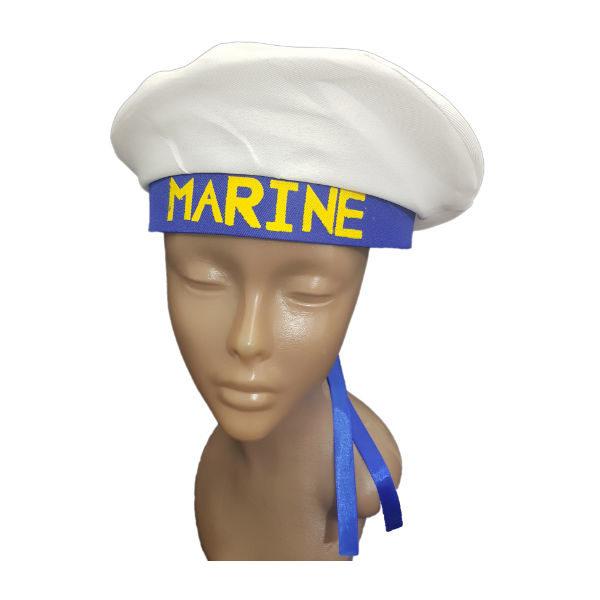 Marine white and blue ribbon hat 1