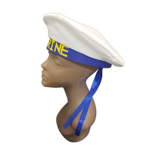 Marine white and blue ribbon hat 2