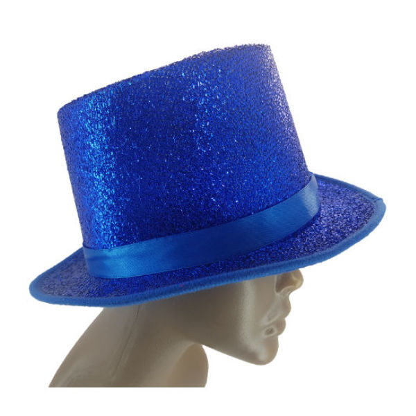 Material Blue glitter and Ribbon embelished Top Hat2