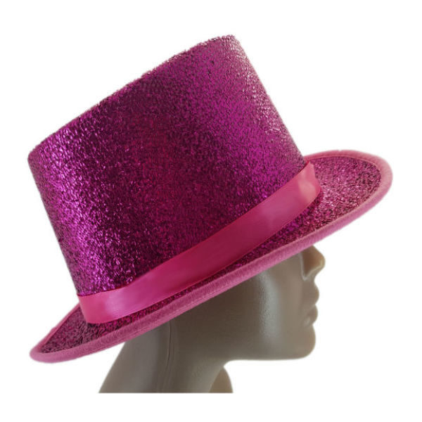Material Pink glitter and Ribbon embelished Top Hat2