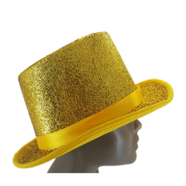 Material Yellow and Gold glitter with ribbon embelished Top Hat 2