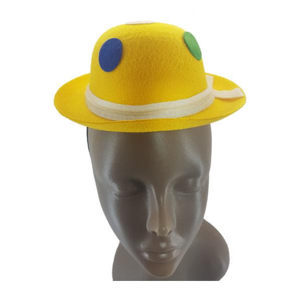 Mini Felt Yellow Bowler Hat with multi colour polka dots1