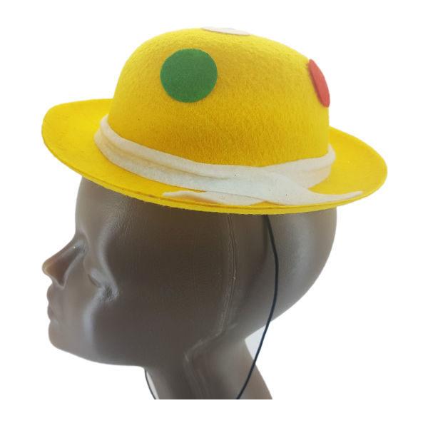 Mini Felt Yellow Bowler Hat with multi colour polka dots2