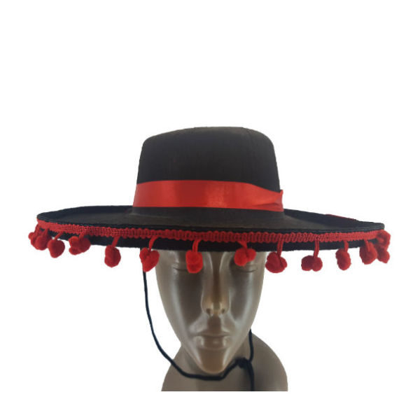 New-Mexican Hat Black with Red Tussle detail1