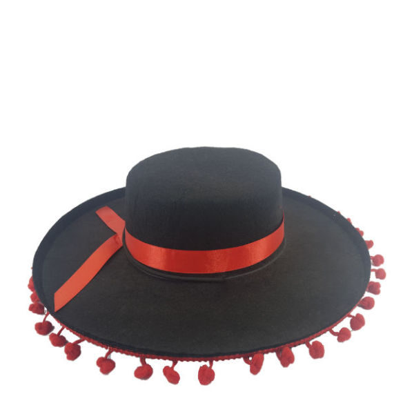 New-Mexican Hat Black with Red Tussle detail3-