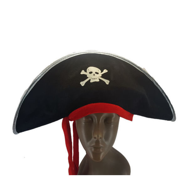 Pirate Captain Hat Black with Silver trimming and Red Ribbon1-