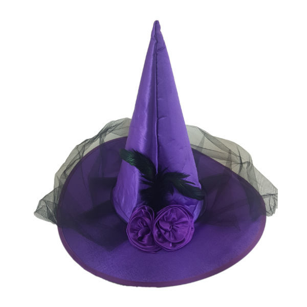 Satin Purple Which hat with black net, feather and rose embelishment1
