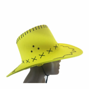 Suede yellow cowboy hat with black leather detail2