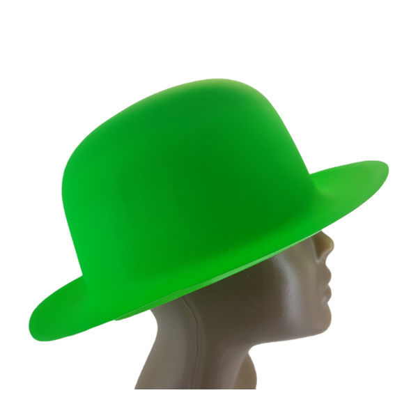 new-Plastic Neon Green Small Bowler Hat2-