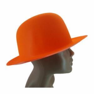 new-Plastic Neon Orange Small Bowler Hat2