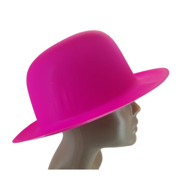 new-Plastic Neon Pink Small Bowler Hat2