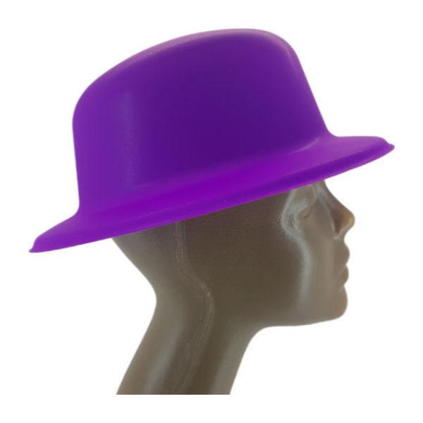 new-Plastic Neon Purple Small Bowler Hat2-