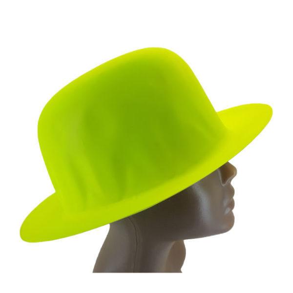 new-Plastic Neon Yellow Small Bowler Hat2-
