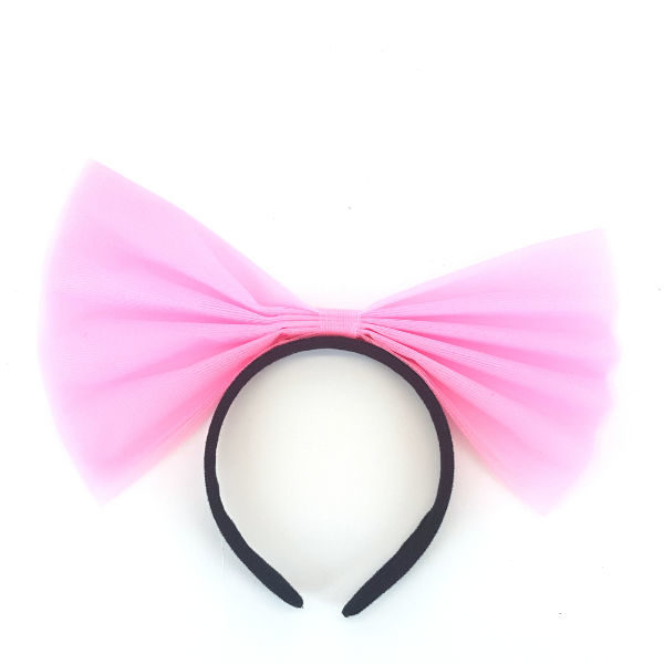 Alice Band with Giant Pink Net Bow 1