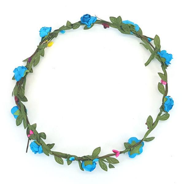 Flower Garland Headband Blue Roses and Green Leaf Petals