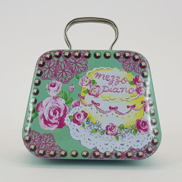 Mini handbag tin mezzo piano floral design