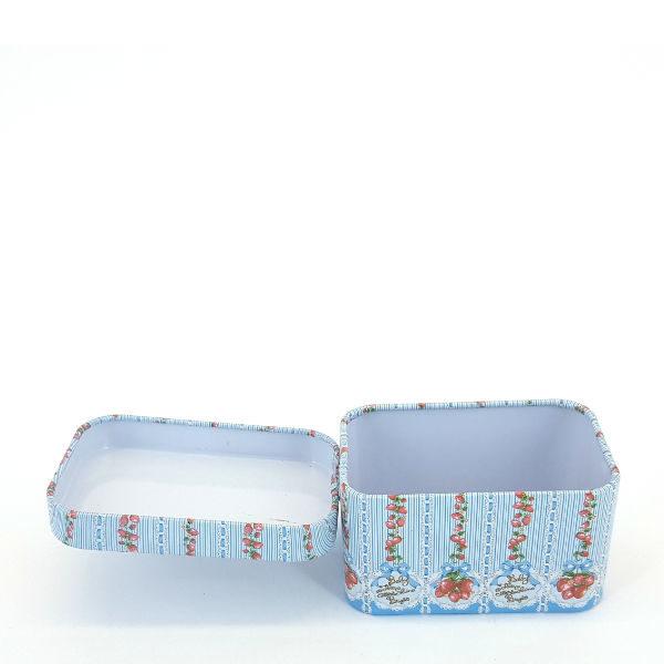 Rectangular Mini Tin Baby Blue & Strawberry Design