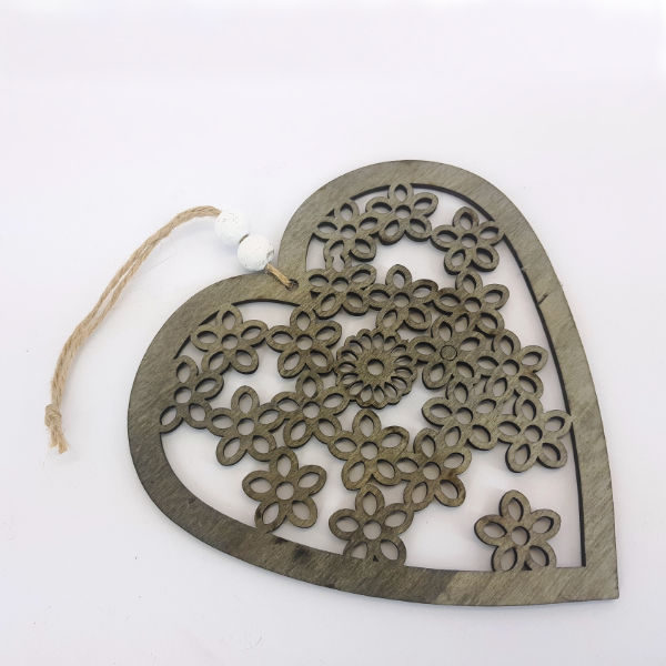 Heart and bead ornament