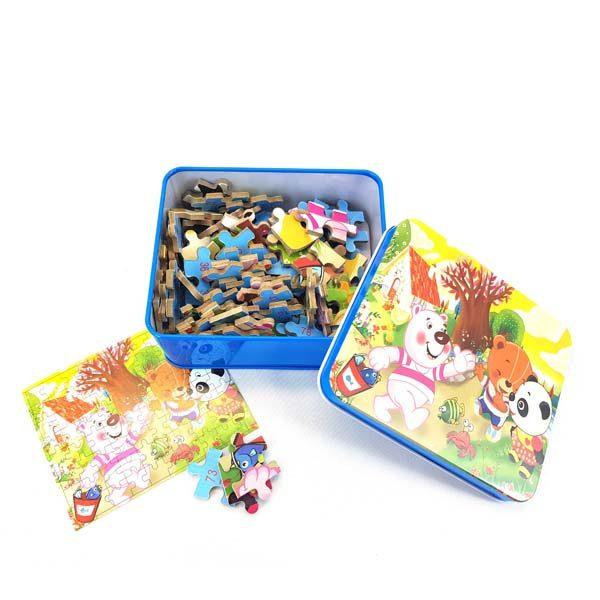Teddy bears puzzle tin