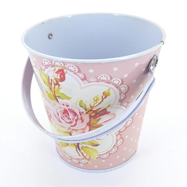 Tin Bucket Pink Rose & Polka design