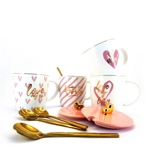Cups and Mugs set with golden spoon