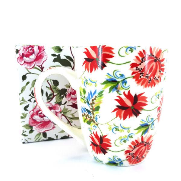 Floral red mug