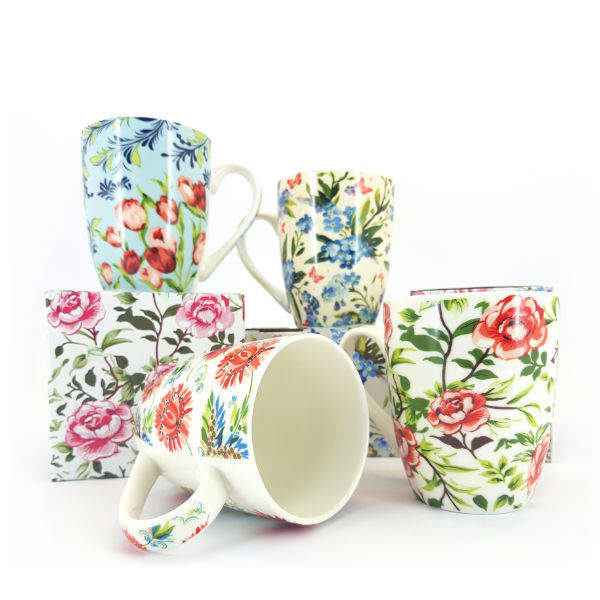 Floral mugs with boxes
