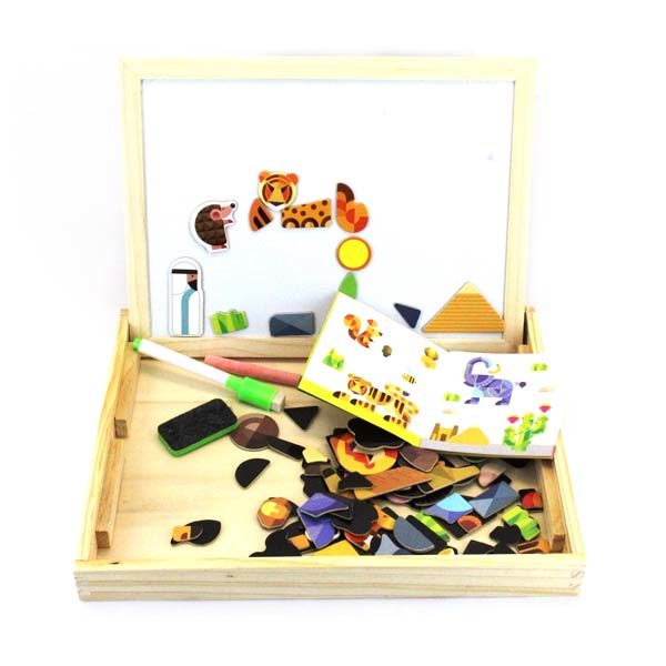 Magnetic Whiteboard Box with Shapes and Animal Pieces