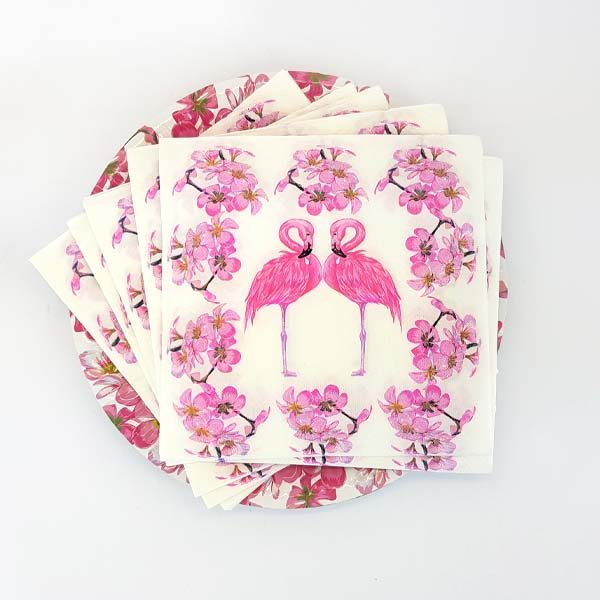 Pink flamingo pair serviettes