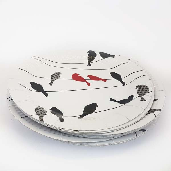 Red birdie on a wire plates