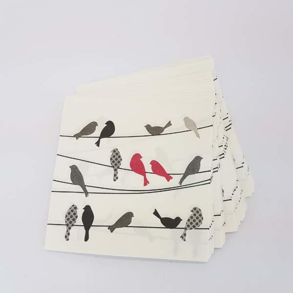 Red birds on wire serviettes
