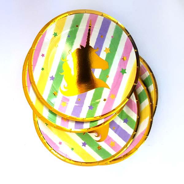 Unicorn multicolour and gold paper plates
