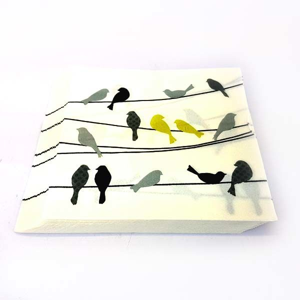 Yellow birds on a wire serviettes