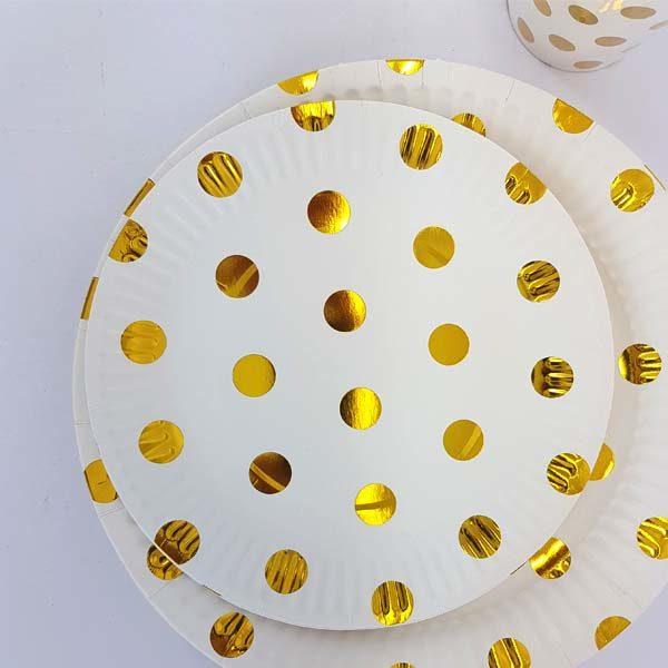 gold polka dot small plates