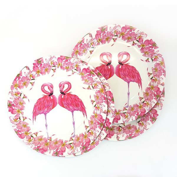 pink flamingo pair paper plates